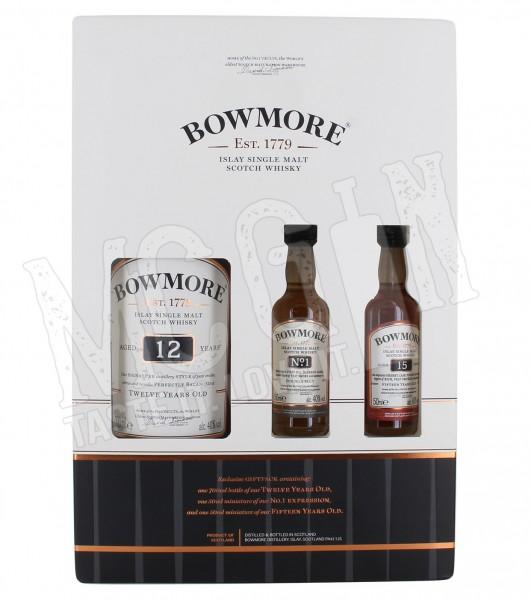 Bowmore 12 Jahre 0,7L + Miniatur Bowmore No. 1 + Miniatur Bowmore 15 Jahre